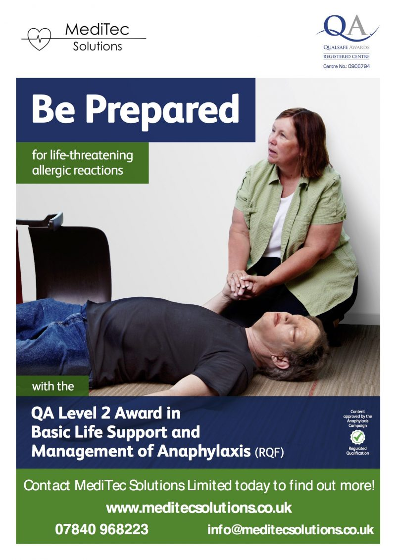QA Level 2 Award in Basic Life Support and Management of Anaphylaxis Training