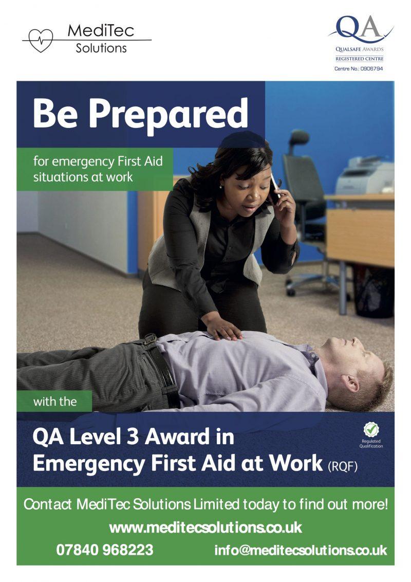QA Level 3 Award in Emergency First Aid at Work Training