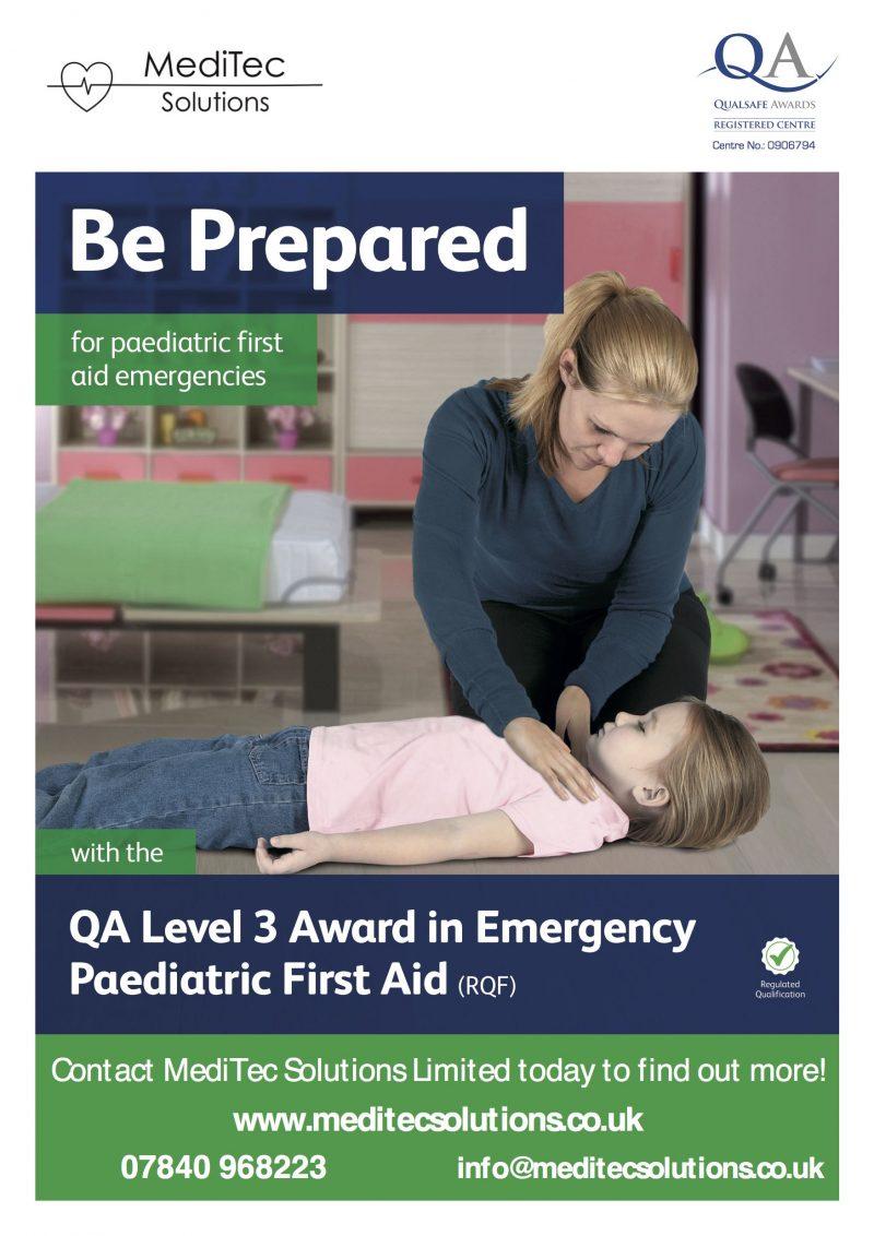 QA Level 3 Award in Emergency Paediatric First Aid Training