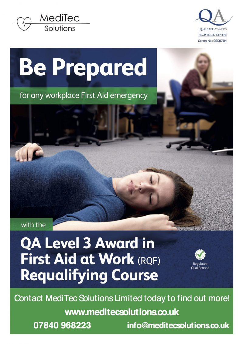 QA Level 3 Award in First Aid at Work Requalifying Course Training